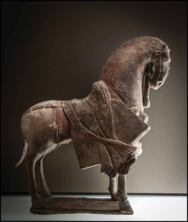 Parade Horse, Henan or Hebei (?), 1st half of 6th century, compact grey earthenware with fine grain, non-uniform white slip, pigments, height 25.5 cm, Chinese Gallery. Photo: Roberto Cortese