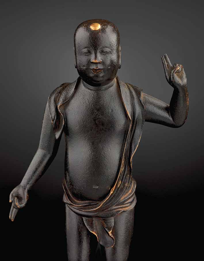 Tanjobutsu, the historical Buddha Sakyamuni as infant, Japan, Edo period, 17th/18th century, bronze, gold, height 20 cm. Ger Eenens Collection The Netherlands/Wereldmuseum Rotterdam. Photo: Erik and Petra Hesmerg