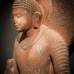 Standing Buddha, Uttar Pradesh, Mathura, 5th-6th century, spotted red sandstone, height 98 cm, South Asia Gallery. Photo: Roberto Cortese