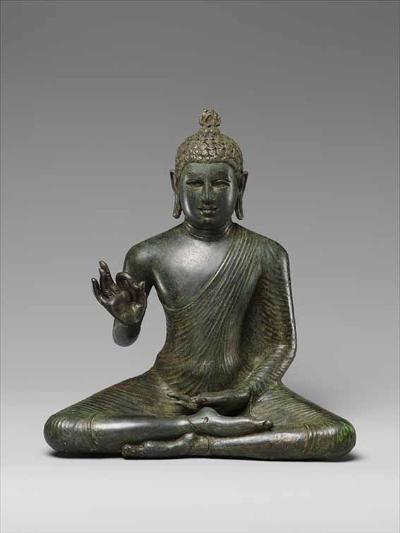 Seated Buddha, late 8th century, copper alloy, 10 1/2 × 11 × 4 1/2 inches, The Metropolitan Museum of Art, New York, purchase, Harris Brisbane Dick Fund, The Vincent Astor Foundation Gift, Acquisitions and 2008 Benefit Funds, and John Stewart Kennedy Fund, by exchange, 2009
