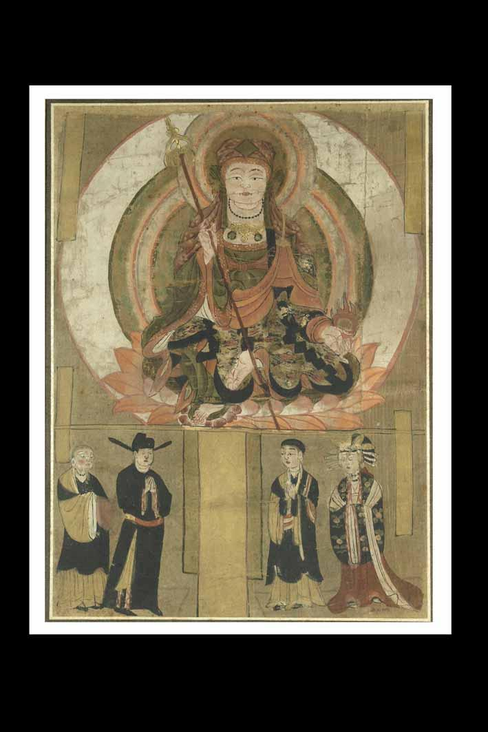 KSHITIGARBHA WITH DONORS, Colours on silk, 949, Dunhuang, 102 x 55 cm. On loan from the National Museum, New Delhi