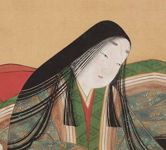 Detail of Portrait-Icon of Murasaki Shikibu by Tosa Mitsuoki (1617-1691), Edo period (1615-1868), 17th century, hanging scroll, ink and colour on silk. On loan from Ishiyamadera Temple, Shiga Prefecture