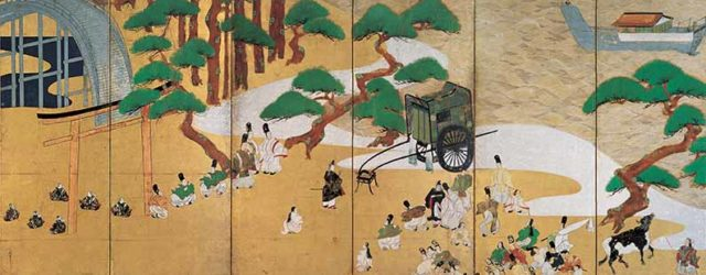 Channel Markers and The Barrier Gate (1631) by Tawaraya Sotatsu (circa 1570-circa 1640), one of a pair of six-panel folding screens, Edo period (1615-1868), on loan from Seikado Bunko Museum, Tokyo. National Treasure