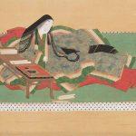 Portrait-Icon of Murasaki Shikibu by Tosa Mitsuoki (1617-1691), Edo period (1615-1868), 17th century, hanging scroll, ink and colour on silk. On loan from Ishiyamadera Temple, Shiga Prefecture