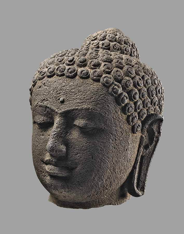A head of the Buddha from Borobudur, late 1700s or early 1800s, Central Java, 1859 © The Trustees of the British Museum