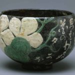 Tea Bowl with Moonflower and Poem by Ogata Kenzan (1663-1743), Edo period (1615-1868), the first half of the 18th century, stoneware with polychrome, overglaze enamels, height 3 9/16 in, diam. 5 1/8 in, The Museum Yamato Bunkakan, Nara. Important Cultural Property. The motif and the content of the poem refer to Chapter 4, Evening Faces