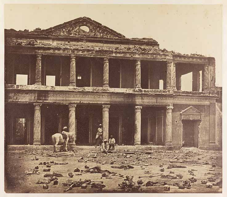 Interior of the Secundra Bagh after the Slaughter of 2,000 Rebels by the 93rd Highlanders and 4th Punjab Regiment. First Attack of Sir Colin Campbell in November 1857, Felice Beato, Lucknow 1858