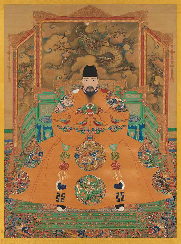 Portrait of the Hongzhi Emperor (r 1488-1505), Ming dynasty 1368-1644, hanging scroll, ink and colours on silk, 209.8 x 154.4 cm © National Palace Museum, Taipei