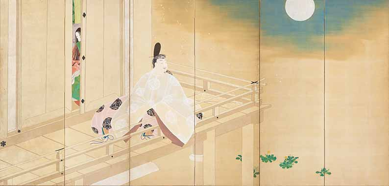 The Uji Princesses (1912) by Matsuoka Eikyu (1881-1938), one of a pair of six-panel folding screens, Taisho period (1912-26), on loan from Himeji City Museum of Art