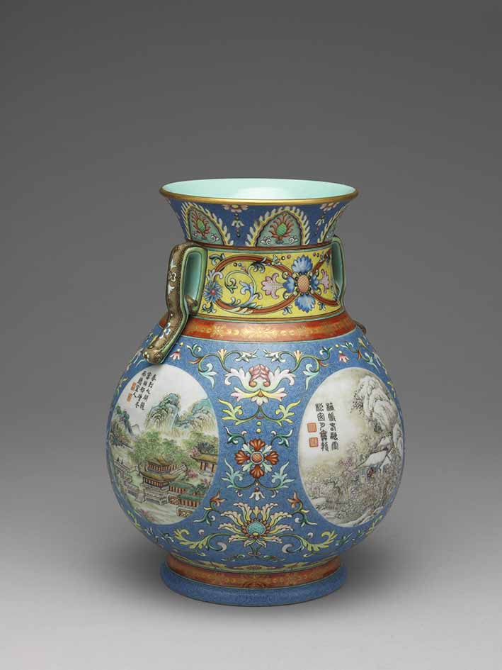 Vase with landscape and floral designs and two handles on a revolving neck, Qianlong 1736-95, Qing dynasty 1644-1911, porcelain, yangcai (famille-rose) enamel overglaze 25 x 12.2 cm (rim diam), National Palace Museum, Taipei © National Palace Museum, Taipei