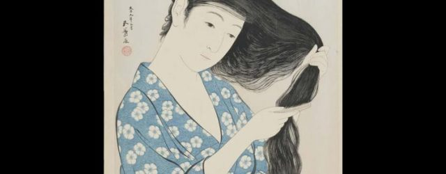Woman Combing Her Hair (Kami sukeru onna), by Hashiguchi Goyo (1880–1921), March 1920, colour woodblock print. Museum Purchase, 1930