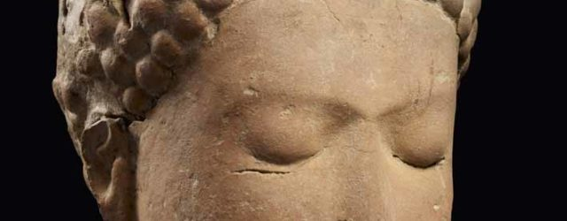 Head of meditating Buddha, Central Thailand, 9th century, recovered from Wat Phra Ngam, near Phra Pathom Chedi, Nakhon Pathom, Nakhon Pathom province, and donated to the National Museum by Phrathep Suthee in 1916, terracotta, height 17 cm, width 15 cm, National Museum, Bangkok, Cat. 118