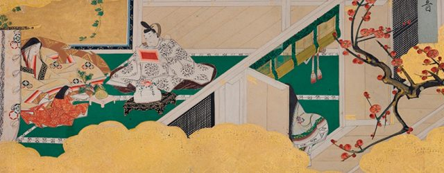 Screen depicting a scene from the Tale of Genji by Iwasa Katsutomo, 17th century