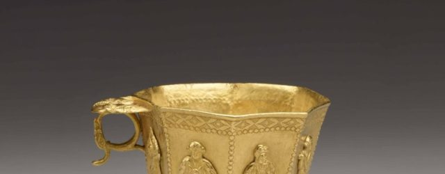 Cast gold cup with chased decorations, China. 825-50. The drinking of grape wine was a habit that came from West Asia