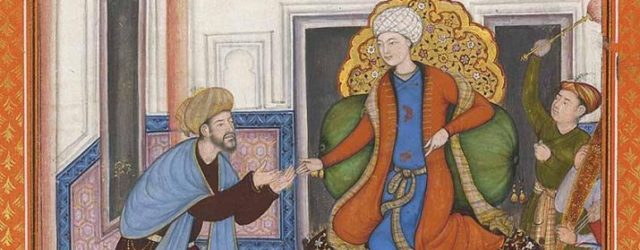 A courtier bring the prince news, illustration for a poem in Persian, mounted in an album leaf, anonymous, gold and colour on paper, folio 28.5 x 21.8 cm, painting 17.5 x 11.6 cm, later Akbar period, circa 1595, on permanent loan from Catharina Dohrn to Museum Rietberg. Photo: Francesca Galloway Ltd