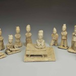 Group of 10 celadon Figurines,Three Kingdoms period, Wu kingdom (222–280), glazed porcelain, various dimensions, from 5 3/8 to 7 5/8 inches. Unearthed in 2006 from the Wu tomb at Shangfang in Jiangning, Jiangsu. Collection of the Nanjing Municipal Museum