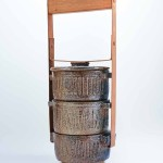Mangkuk Tingkat (undated). 41.5 x 17 x 15.5 cm, stoneware, metal and wood. Collection of the artist