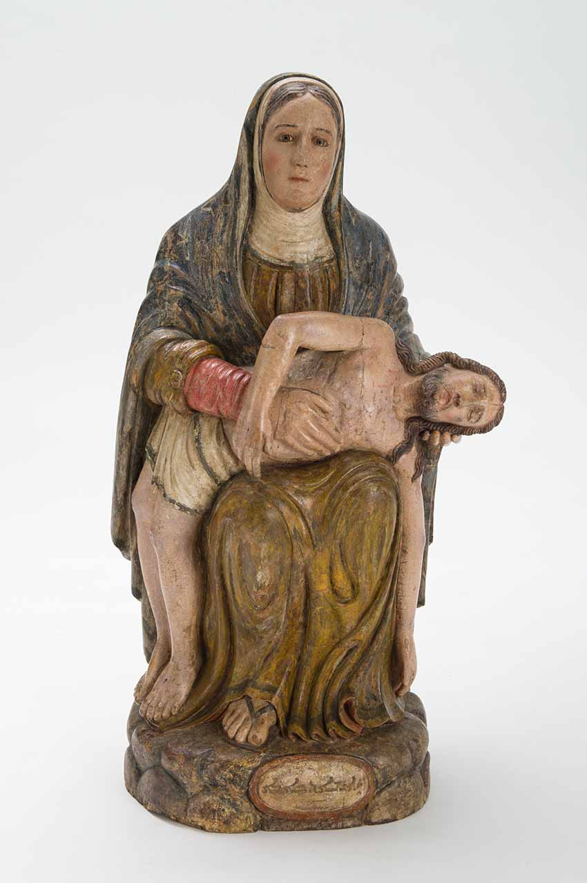 Pietà (Mother of Sorrows), India, Kerala, 18th century, painted wood, Asian Civilisations Museum