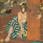 Karuizawa: Kamada Matahachi Placing a Sandal under a Temple Column, no 19 from the series The Sixty-nine Stations of the Kisokaido, 1852, by Utagawa Kuniyoshi (1797-1858), woodblock print, Allen Memorial Museum, Mary A Ainsworth Bequest