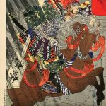 Watanabe no Tsuna and the Demon of Rashomon Gate, 1887, by Tsukioka Yoshitoshi (1839-1892), woodblock print, Allen Memorial Art Museum, Gift of Paul F Walter