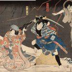 Actors Ichikawa Danjûrô VIII as the Ghost of Seigen (Seigen Onryô), Arashi Rikan III as the Servant (Yakko) Yodohei (R), and Iwai Kumesbarô III as Sakura-hime (L), 1852, by Utagawa Kunisada (1786-1865), woodblock print, Allen Memorial Museum, from the collection of Brondy Shanker