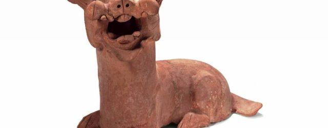 Dog, Eastern Han dynasty (AD 25-220), earthenware, height 42.5 cm, unearthed in 1987, Dongguan, Nanyang, Henan Province. Photo: Courtesy Henan Museum, Zhengzhou