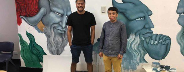 Khadim Ali and assistant in his Sydney studio. Photo courtesy: Matthias Arndt, Arndt Berlin