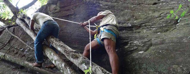 The climb to access the rock art at Kurullangala