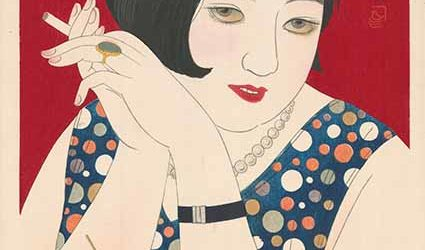 Tipsy, from the series Modern Styles of Women by Kobayakawa Kiyoshi, 1930, colour woodblock print with mica, Saint Louis Art Museum, The Langenberg Endowment Fund