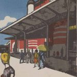 Onchi Kōshirō; published by Fugaku Shuppansha; 'Tokyo Station', from the series 'Scenes of Lost Tokyo', 1945; colour woodblock print; Saint Louis Art Museum, The Margaret and Irvin Dagen Fund for Modern and Contemporary Japanese Prints in honor of Steven Owyoung