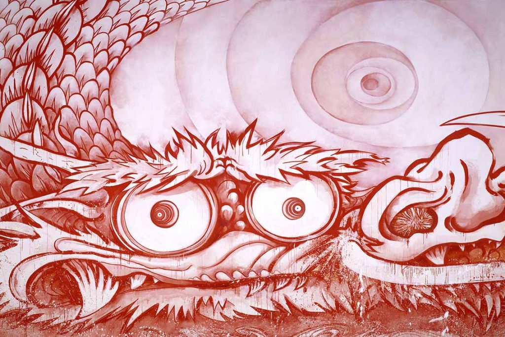 """Dragon in Clouds—Red Mutation: The version I painted myself in annoyance after Professor Nobuo Tsuji told me, """"Why don't you paint something yourself for once?"""", 2010, Takashi Murakami, Acrylic on canvas, 3670 x 18000 mm, © 2010 Takashi Murakami/Kaikai Kiki Co., Ltd. All Rights Reserved. Courtesy Museum of Fine Arts, Boston"""