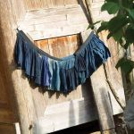 A re-patched Kam skirt – its original black-blue colour, with age, now shows a range of blues