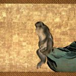 Monkey on a Rock, by Nagasawa Rosetsu, circa 1792-1794, detail from a framed panel, ink and colour on gold ground. Private Collection, Japan