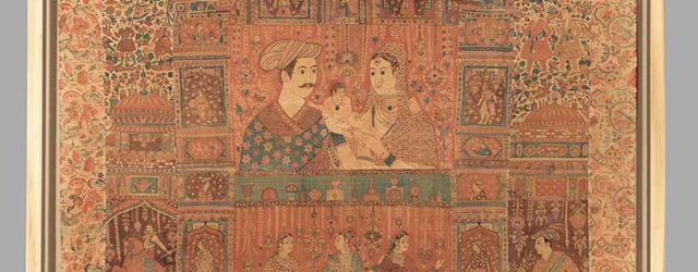 Kalamkari hanging with figures in an architectural setting, Golconda region of the Coromandel Coast, circa 1640-50, 254 x 198.1 cm. This panel once belonged to a large composition with other parts now in the V&A London, and the Virginia Museum of Fine Arts