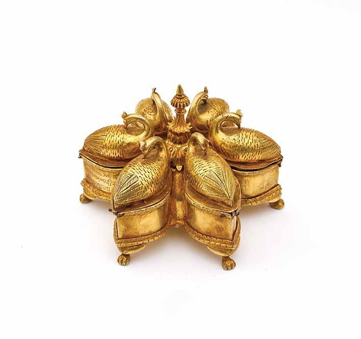 Spice box for paan (betel), Rajasthan, inscribed to Princess Kesar Kanwar, mid-19th century, gilded silver, Umaid Bhawan Palace. Three top photos: Neil Greentree