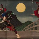The Giant 12th-century Warrior-Priest Benkei Attacking Young Yoshitsune for His Sword on the Gojo Bridge (1881) by Tsukioka Yoshitoshi, colour woodcut on three panels (triptych), sheet (3 attached printed panels), 14 1/4 x 28 3/8 inches. Purchased with funds contributed by the E Rhodes and Leona B Carpenter Foundation, 1989