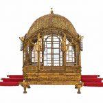 Palanquin (mahadol), Gujarat, circa 1700-1730, gilded wood, glass, copper, and ferrous alloy, Mehrangarh Museum Trust