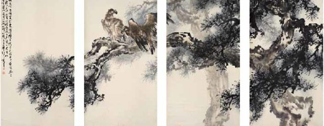 Eagles Perching on a Pine Tree (1986) by Au Ho-nien (b 1935), ink and colours on paper Collection of Yicui Shantan © Au Ho-nien