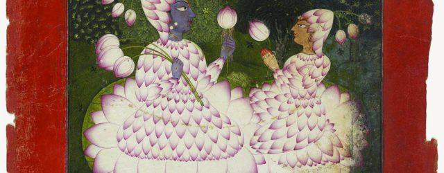 LOTUS-CLAD RADHA AND KRISHNA, circa 1700-1710, opaque watercolour on paper