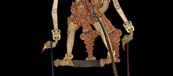 Shadow puppet of the character Trigangga, son of Lord Hanuman the white monkey from the epic The Ramayana, Cirebon, western Java, late 1700s or early 1800s, hide, horn, fibre, pigment, gold leaf © Trustees of the British Museum