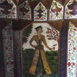 Detail of the Qajar-style wall paintings in the upper room at the Winter Palace