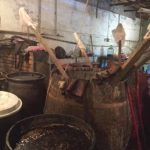 Inside one of the silk dyer's workshops in Sheki that have recently restarted in Sheki old town