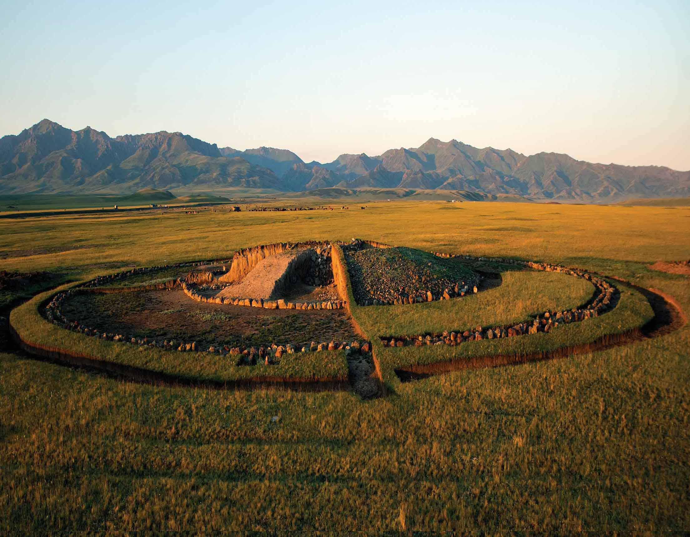 One of the burial mounds, kurgan, built by Saka culture people in eastern Kazakhstan where a horde of golden artefacts were discovered by archaeologists. Photograph: Megalara Garuda/PA