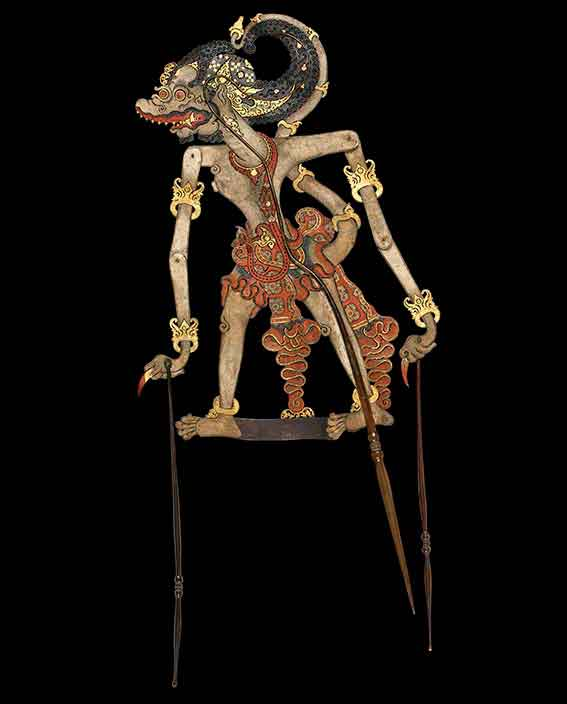Indonesian shadow puppet of the character Trigangga, son of Hanuman the white monkey from the Ramayana, Cirebon, western Java, late 1700s or early 1800s, hide, horn, fibre, pigment, gold leaf © Trustees of the British Museum